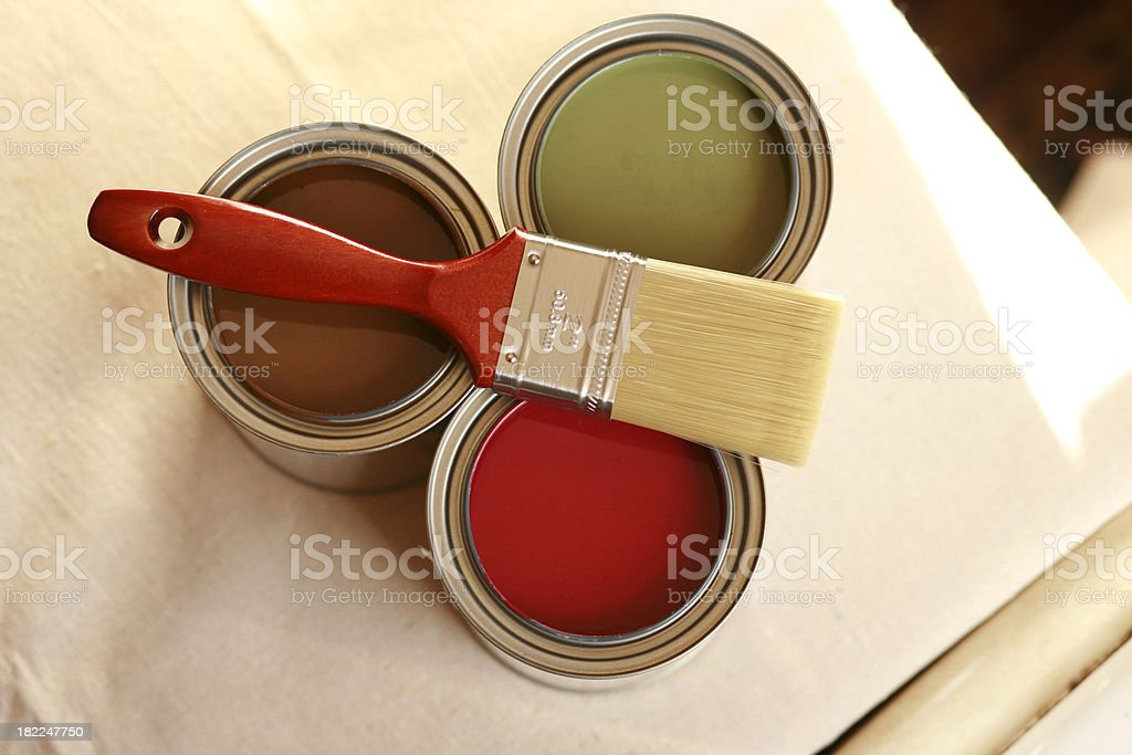 Paint Cans and Brush royalty-free stock photo