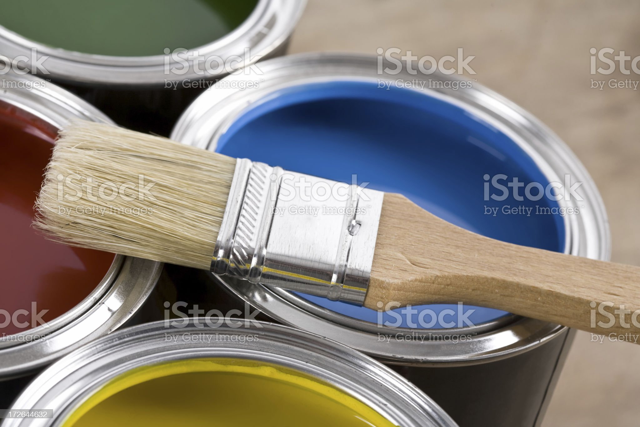 Paint Cans and Brushes royalty-free stock photo