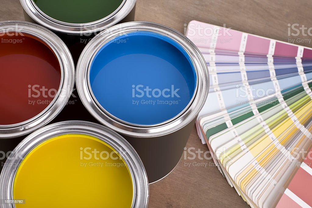 Paint Cans and color chart royalty-free stock photo