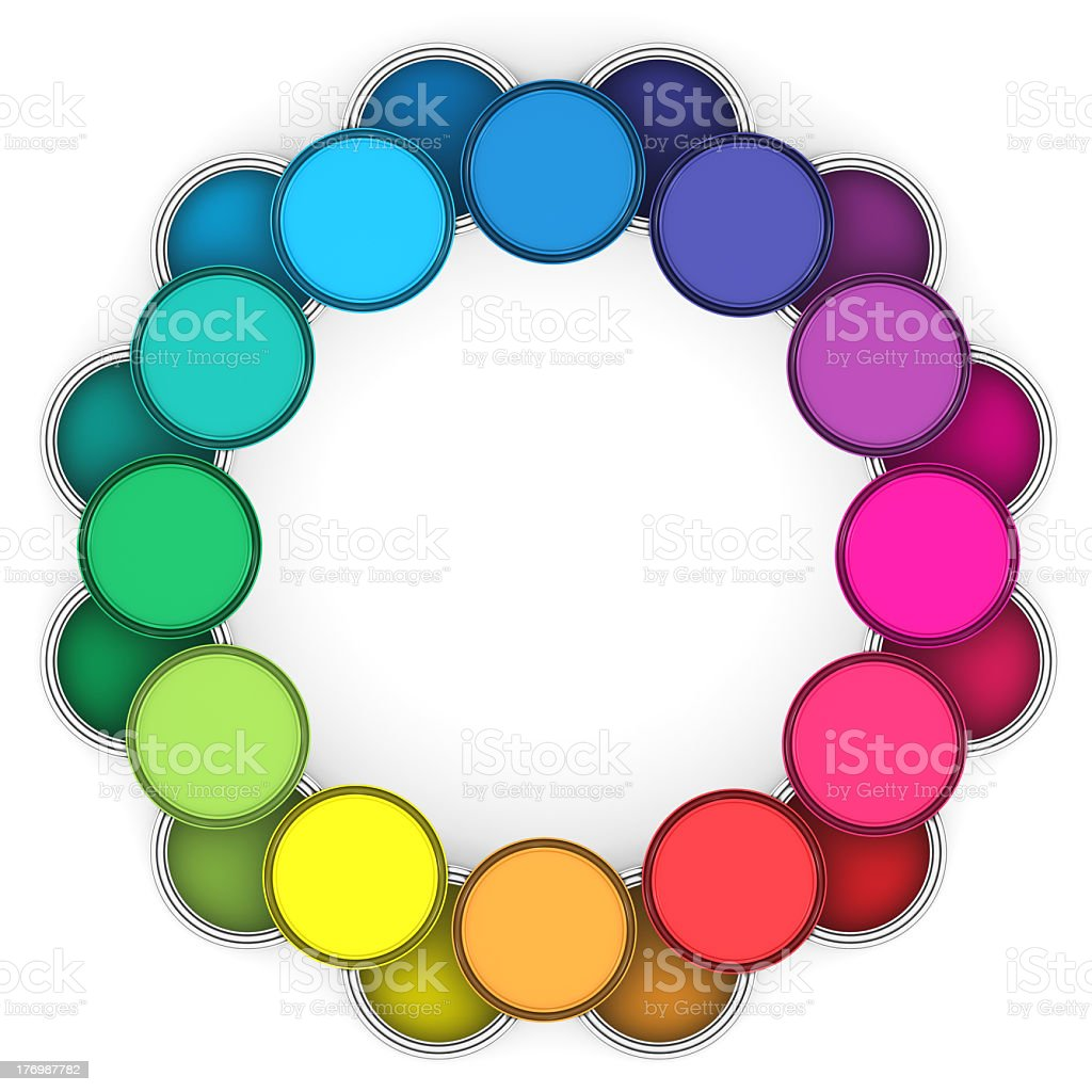 paint cans color wheel on white stock photo