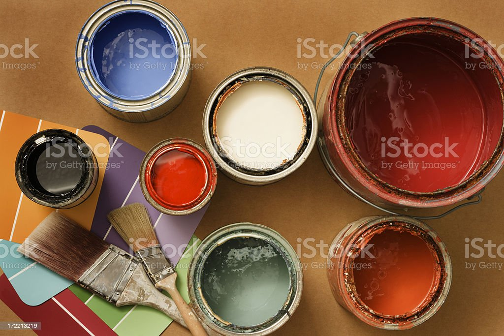 Paint Cans for Home Decorating and Improvement, Brushes, Color Swatches stock photo