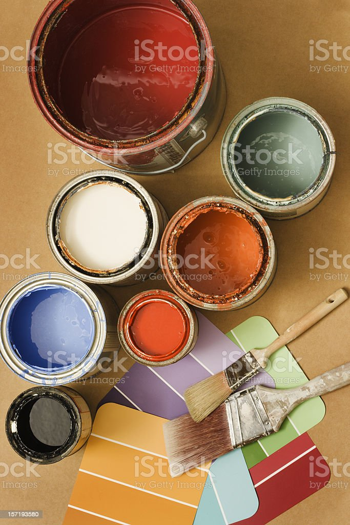 Paint Cans for Home Decorating, Decor with Painting Color Swatches royalty-free stock photo