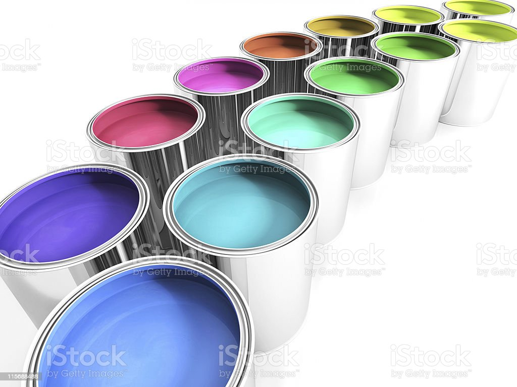 paint cans on white stock photo
