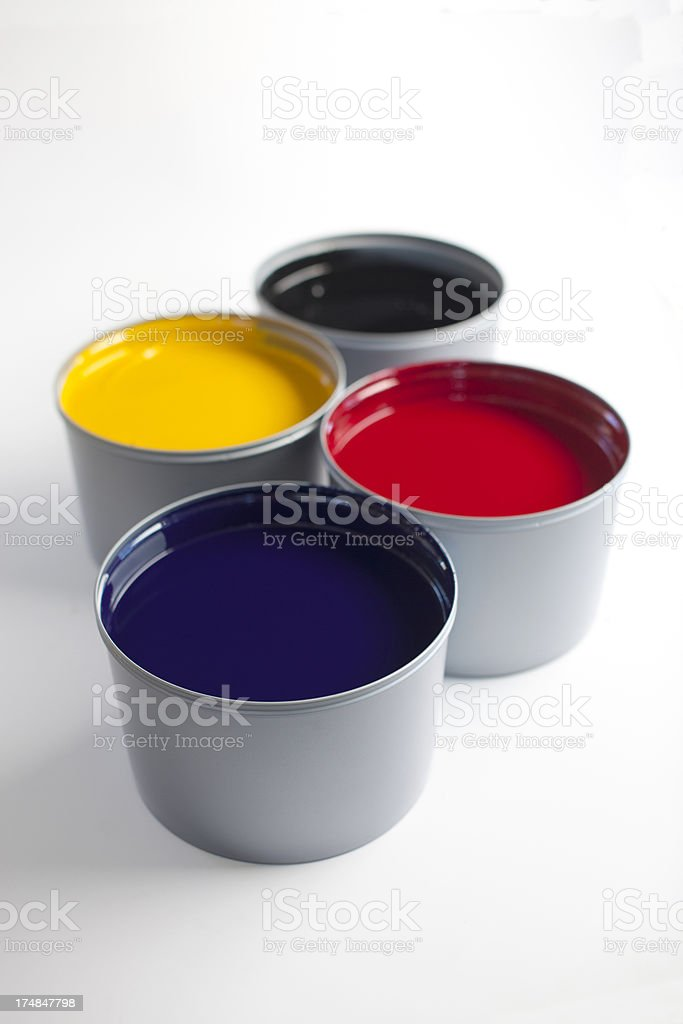 CMYK Paint Cans stock photo