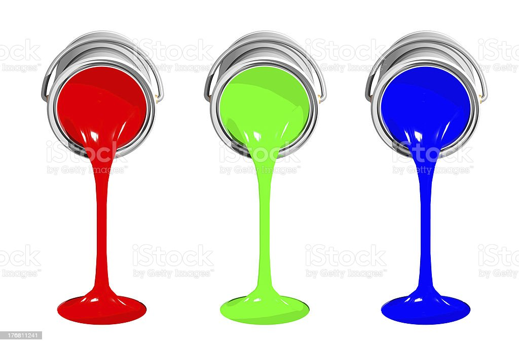 RGB paint cans stock photo