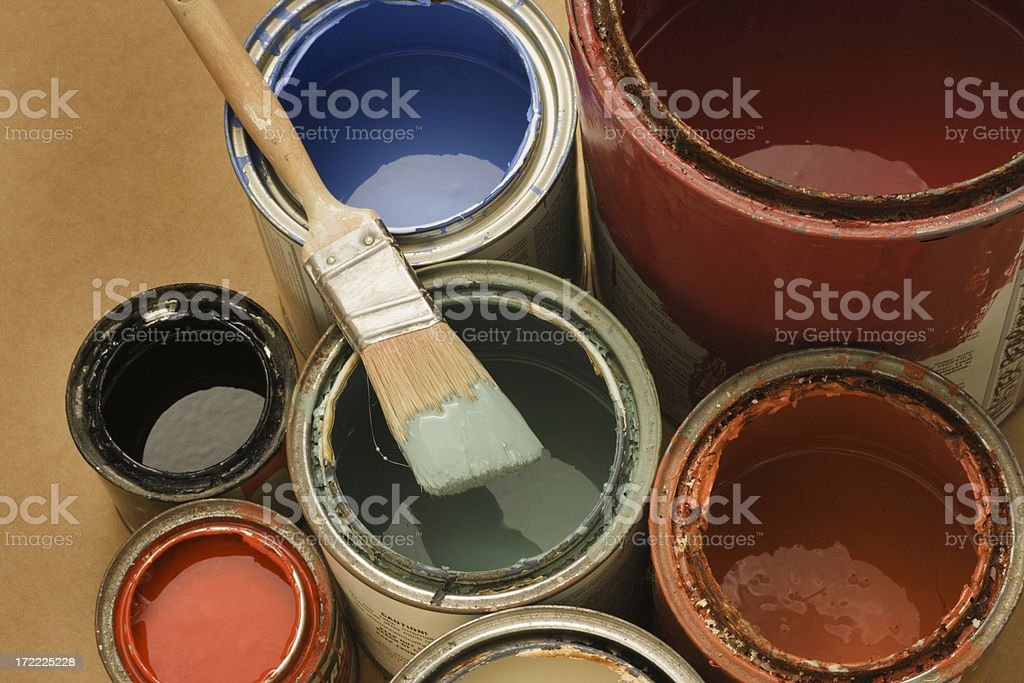 Paint Cans with Paintbrush, Latex Colors for Home Improvement, Decorating stock photo