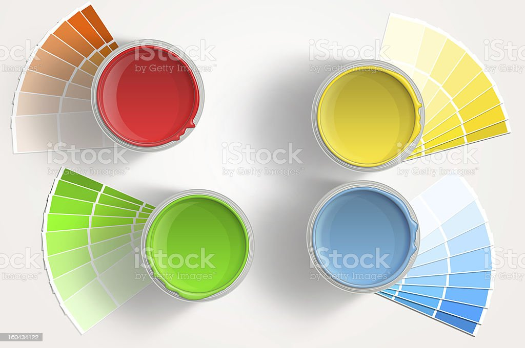 Paint cans - yellow, red, blue, green on white background royalty-free stock photo