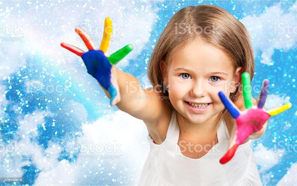 Paint, child, boy stock photo