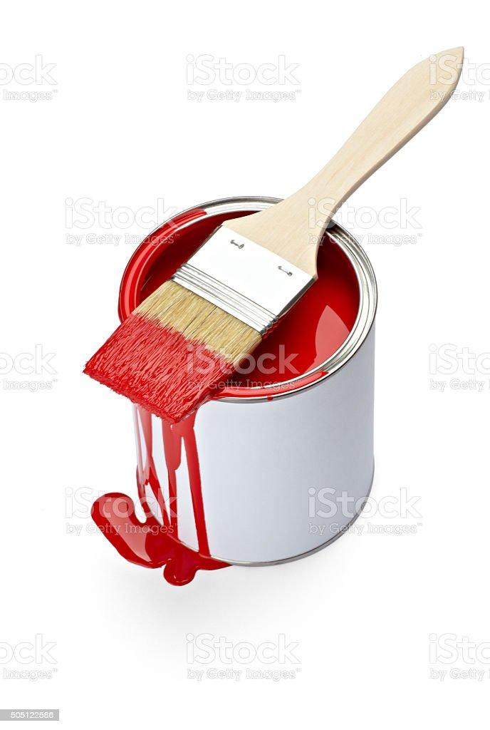 paint color tin can and brush stock photo