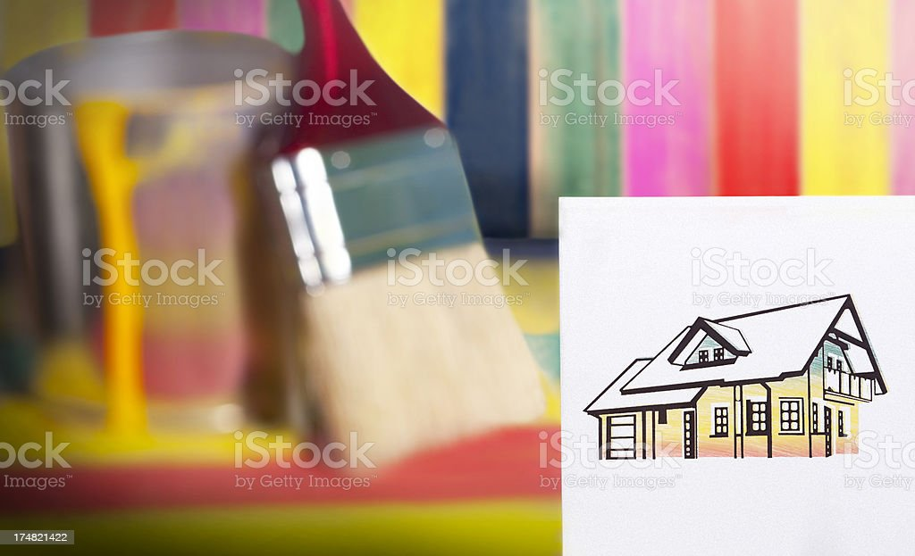 Paint colors and brush royalty-free stock photo