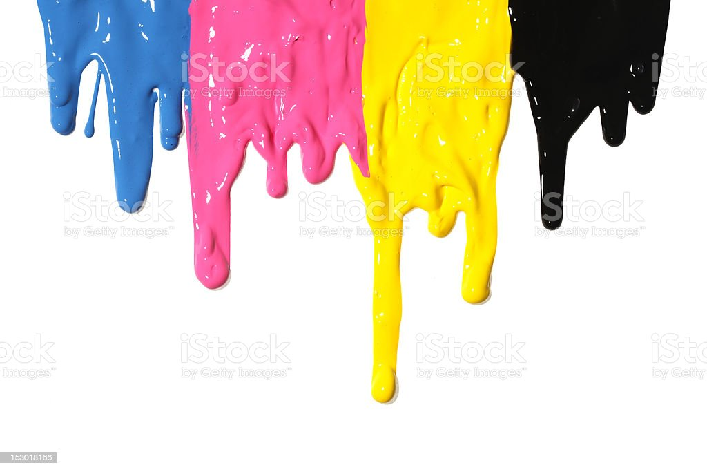 CMYK paint dripping stock photo
