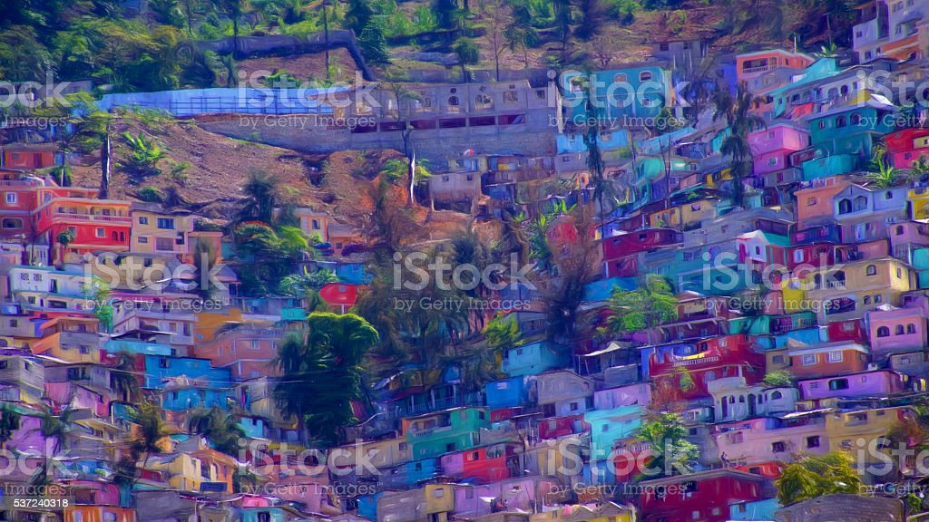 Paint effect, Housing stacked up a hillside in Port-Au-Prince, Haiti stock photo