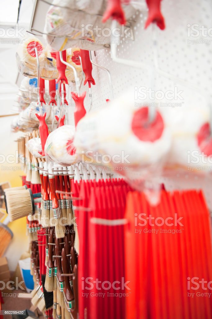 Paint equipment in store stock photo