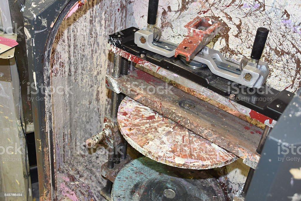 paint mixing machine stock photo
