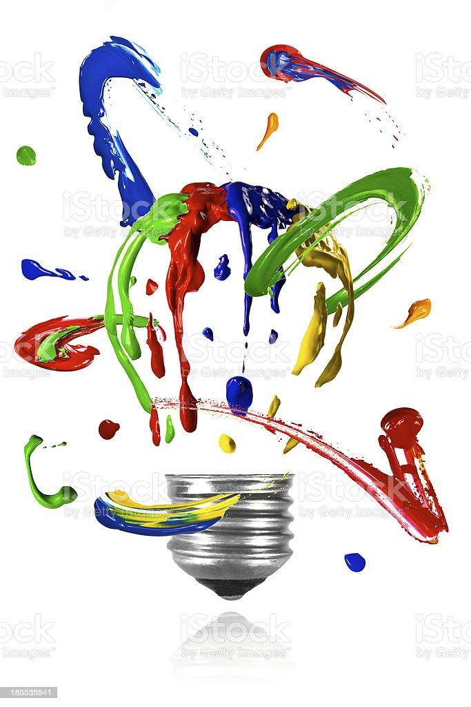 Paint orbit around painted light bulb stock photo