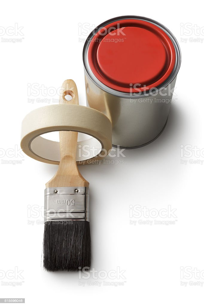 Paint: Paint Can, Brush and Tape Isolated on White Background stock photo