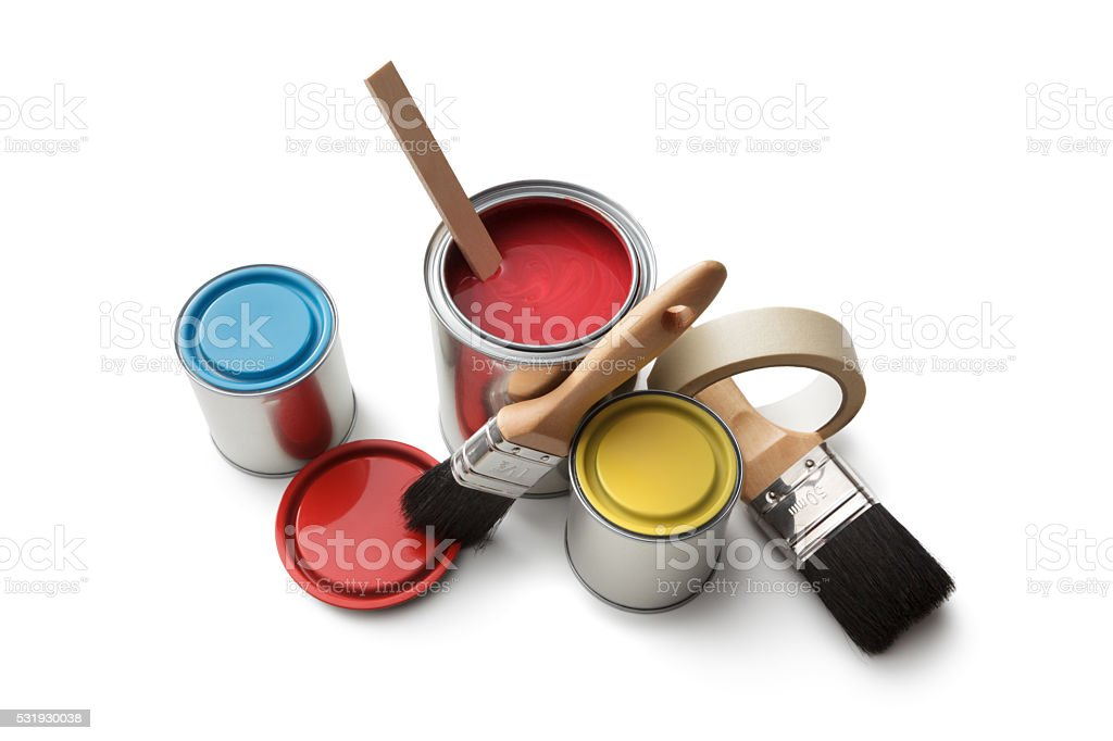 Paint: Paint Cans and Brushes Isolated on White Background stock photo