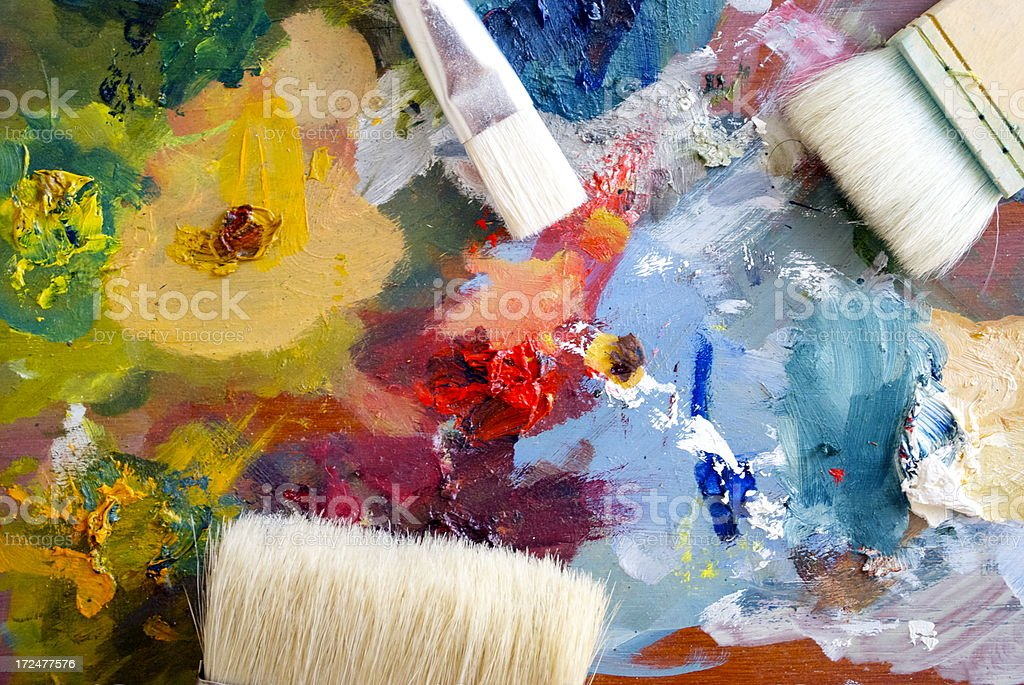 Paint Palette and Brushes Background royalty-free stock photo