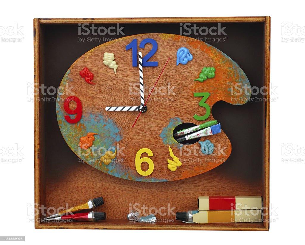 Paint palette clock stock photo