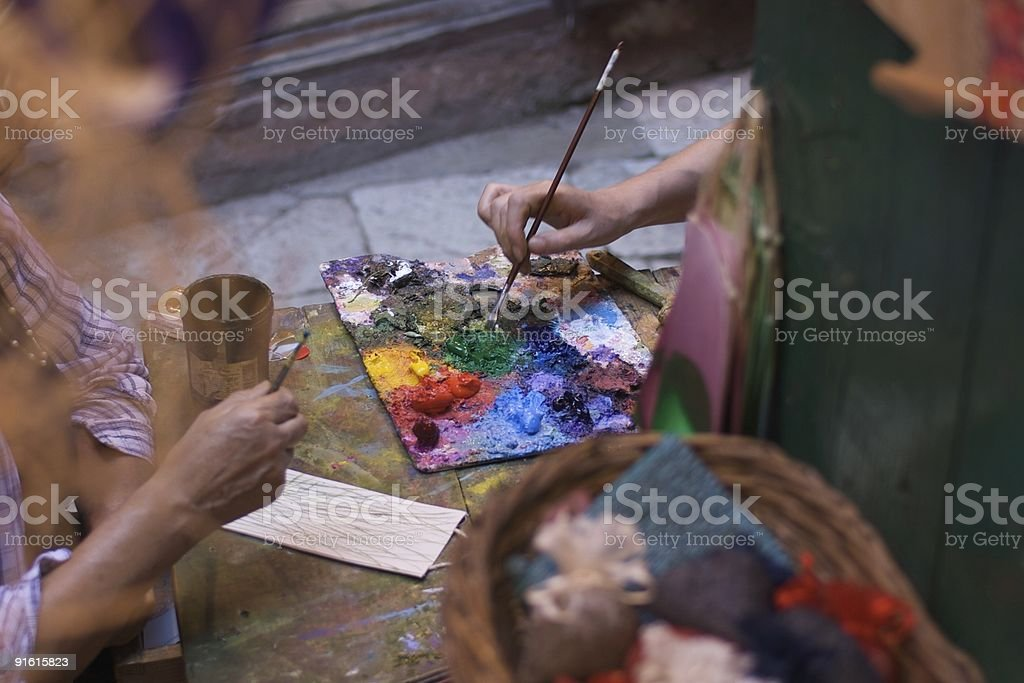 Paint palette seen trought the window royalty-free stock photo