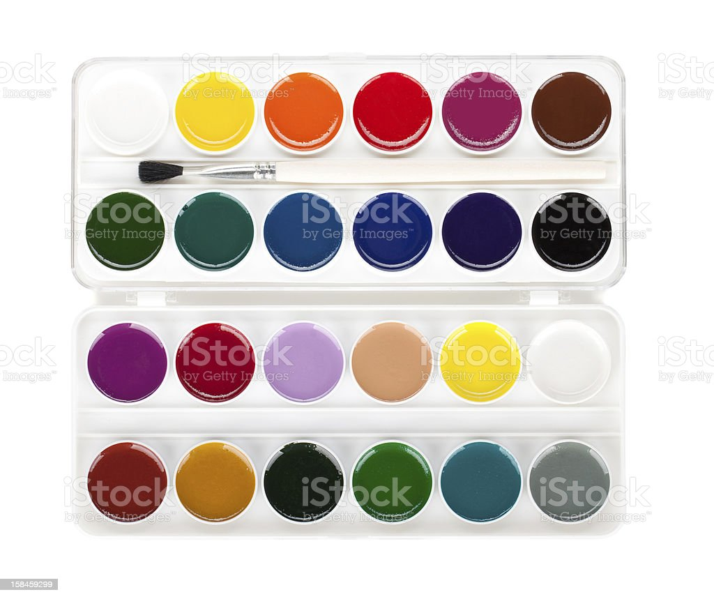 Paint palette with brush royalty-free stock photo