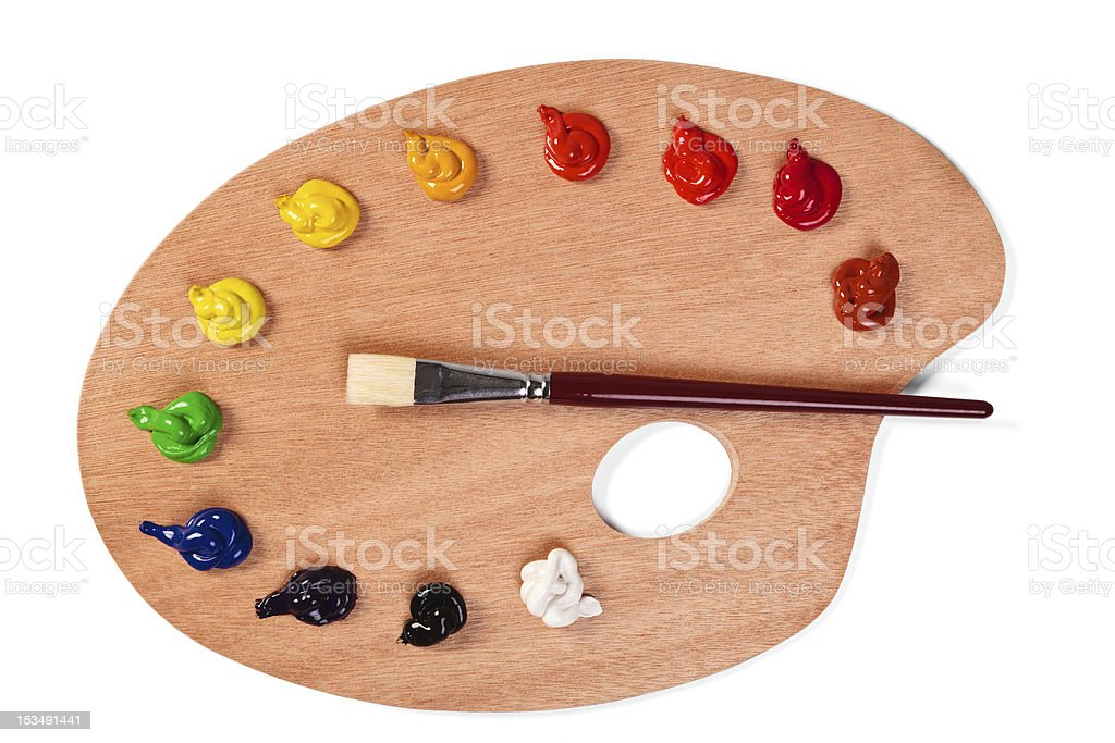 Paint palette with clean brush and fresh paints stock photo