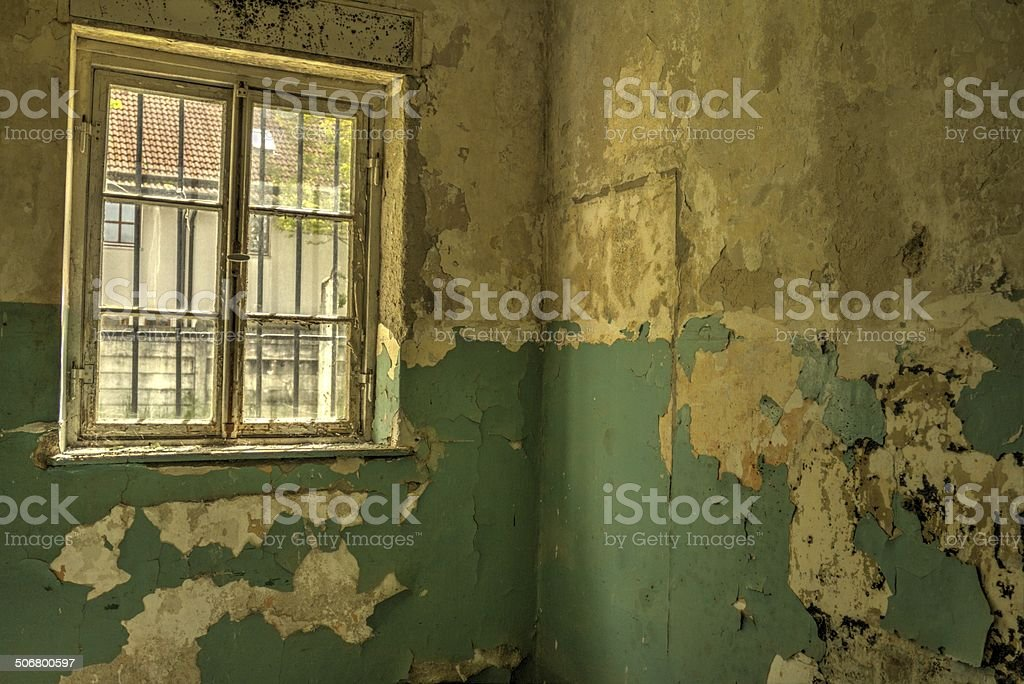 Paint peeling from wall stock photo