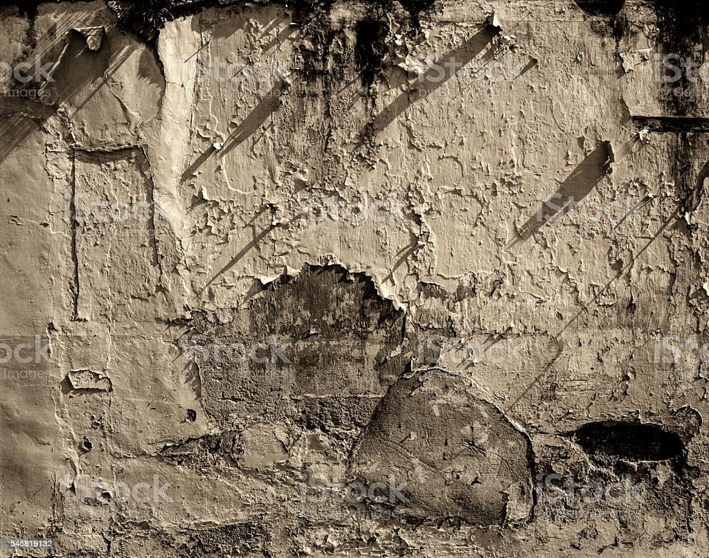 Paint peeling off from wall stock photo