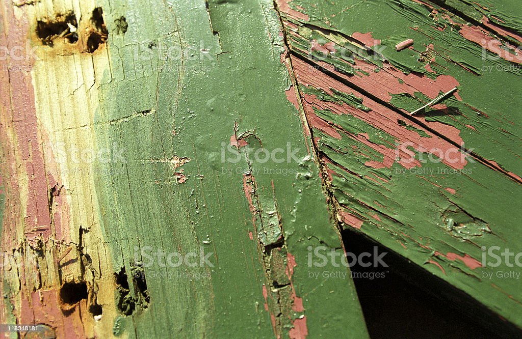 Paint peeling off from wooden surface, close-up, Turkey, Istanbul royalty-free stock photo