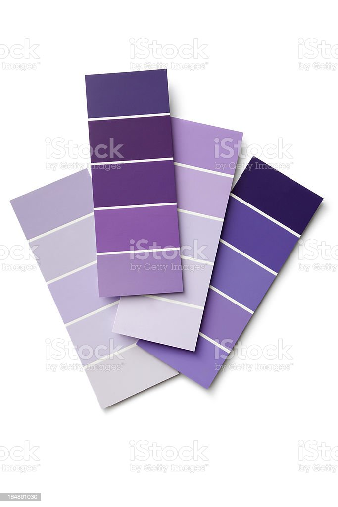 Paint: Purple Colour Samples Isolated on White Background stock photo