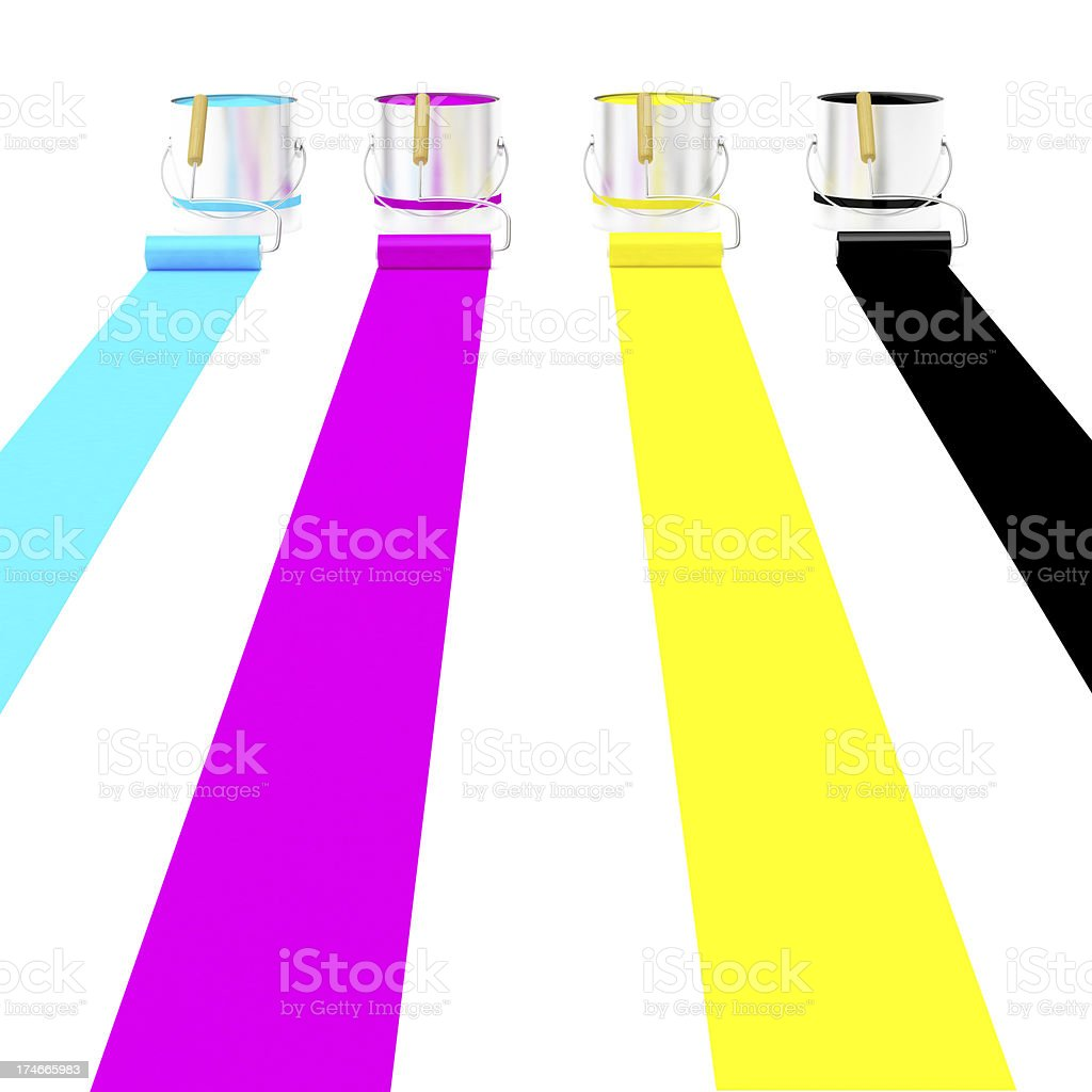 3D 4 Paint roller  and can (Yellow, Blue, Black & Pink) stock photo