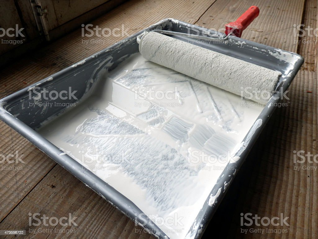 Paint Roller and Tray stock photo