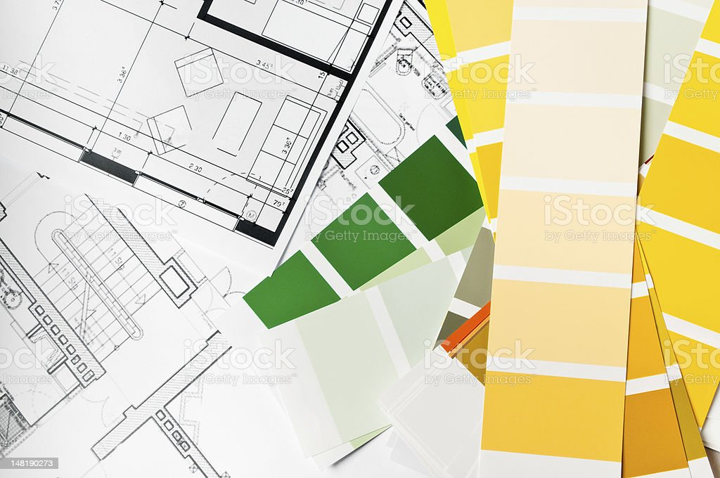 Paint sample and architecture blueprint royalty-free stock photo