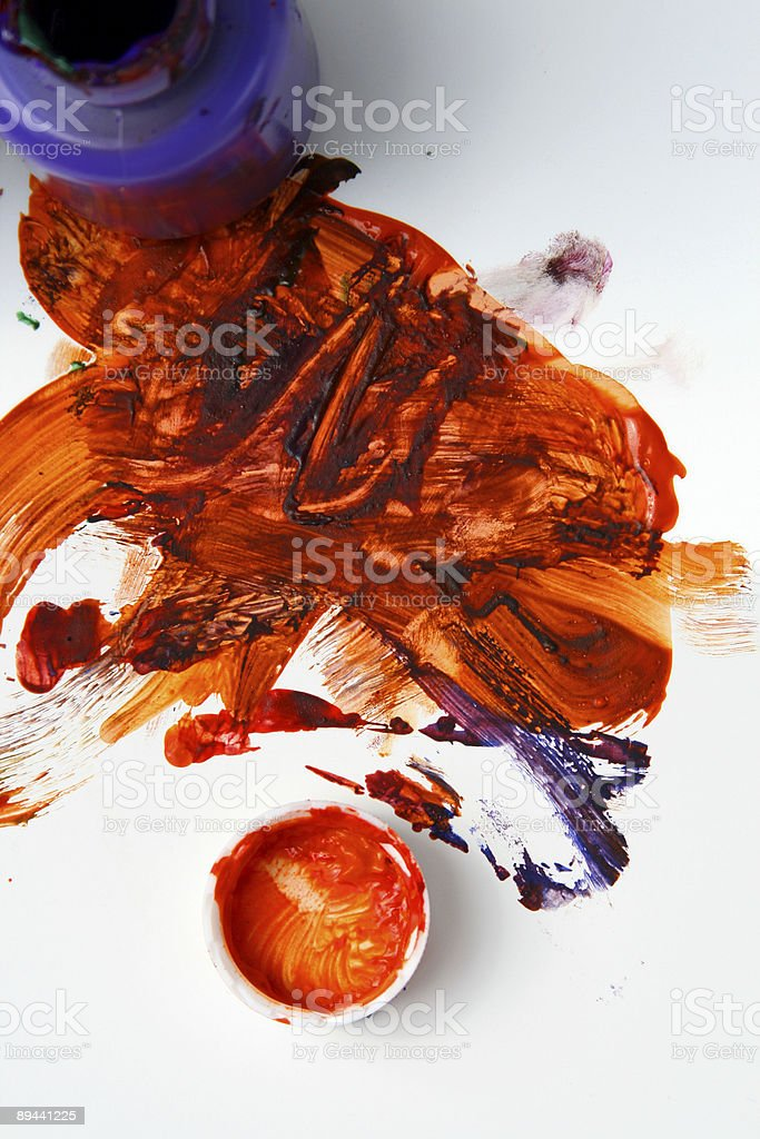 Paint Smear Background with Poster paints and cap royalty-free stock photo