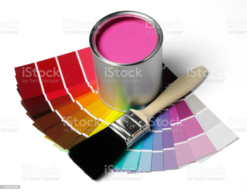 Paint Spectrum with Tin and Brush royalty-free stock photo