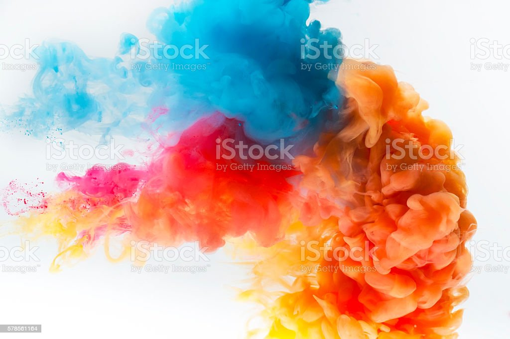 Paint splash on a white background. stock photo