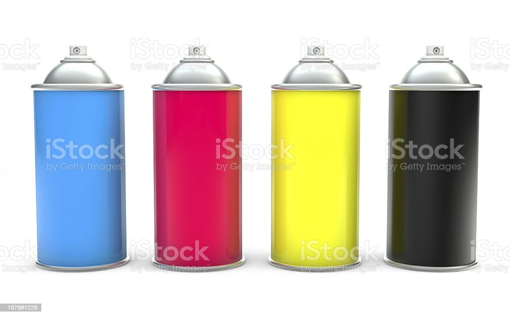 CMYK Paint spray cans stock photo