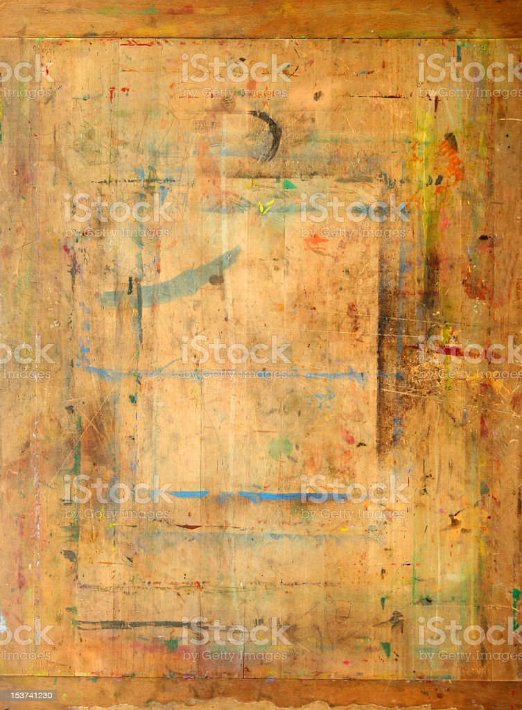 Paint stained wooden drawing board stock photo