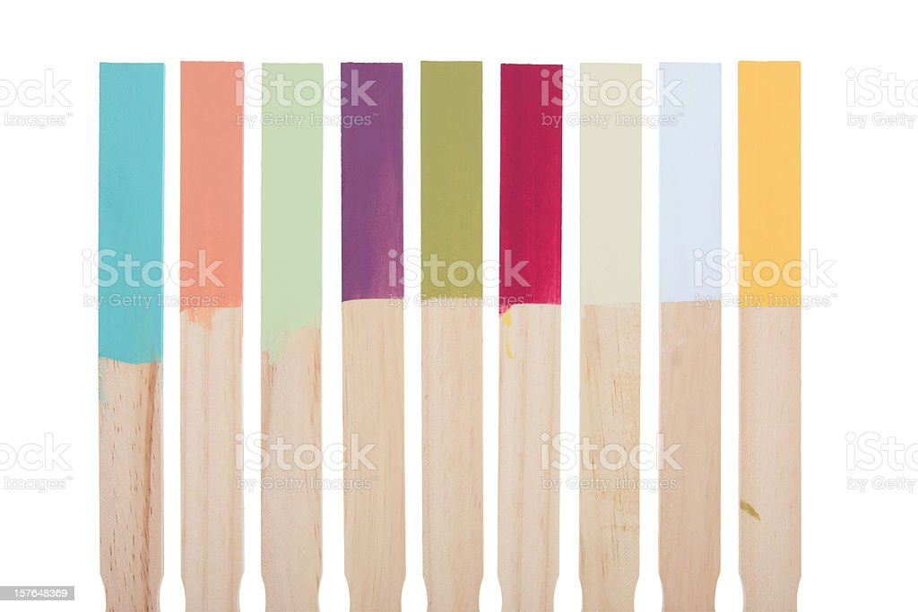 Paint Stir Sticks Color Swatches with Clipping Path royalty-free stock photo