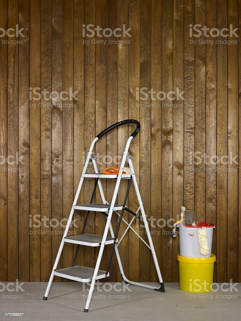 Paint Supplies With Wood Background royalty-free stock photo