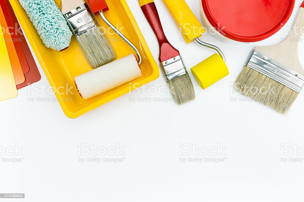 paint tools and accessories for home renovation stock photo