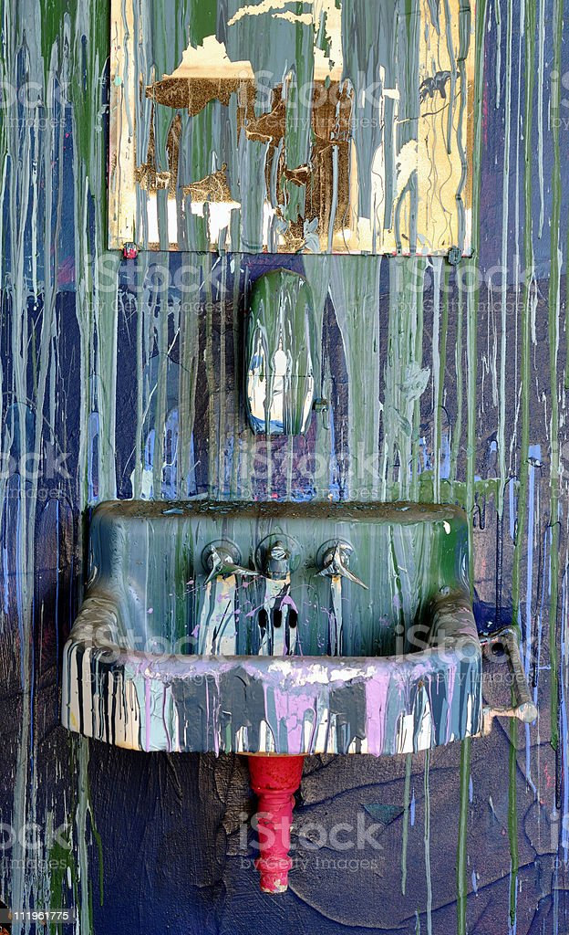 Paint Vandalized Bathroom royalty-free stock photo