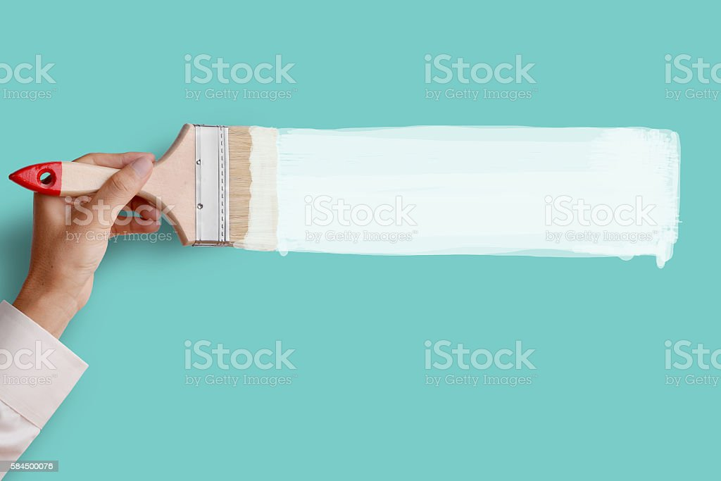 Paint white color on pink wall stock photo