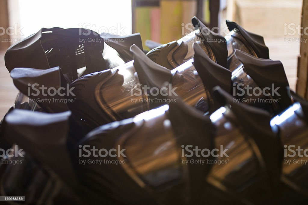 Paintball masks, selective focus royalty-free stock photo