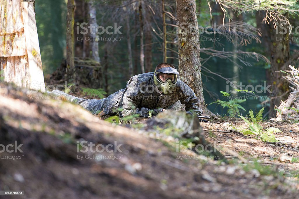 Paintball player Lying Down royalty-free stock photo