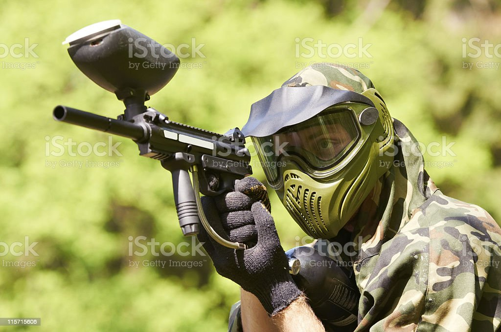 paintball player stock photo