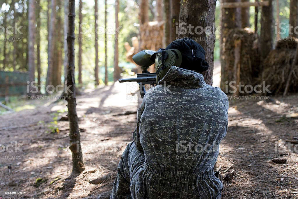 Paintball sniper ready for shooting royalty-free stock photo