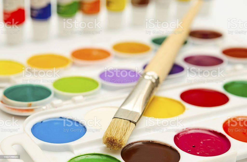 paintbox and brush royalty-free stock photo