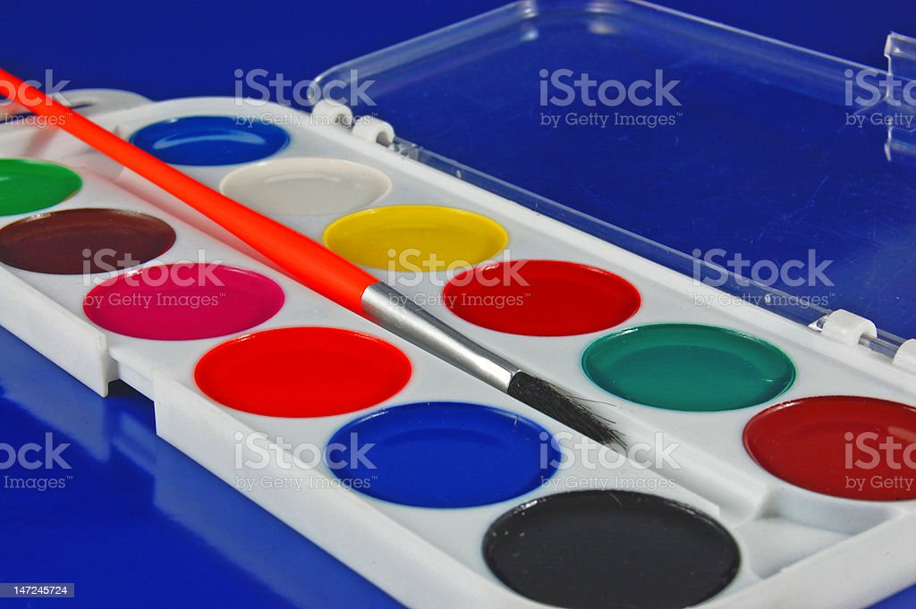 Paintbox watercolour and paintbrush royalty-free stock photo