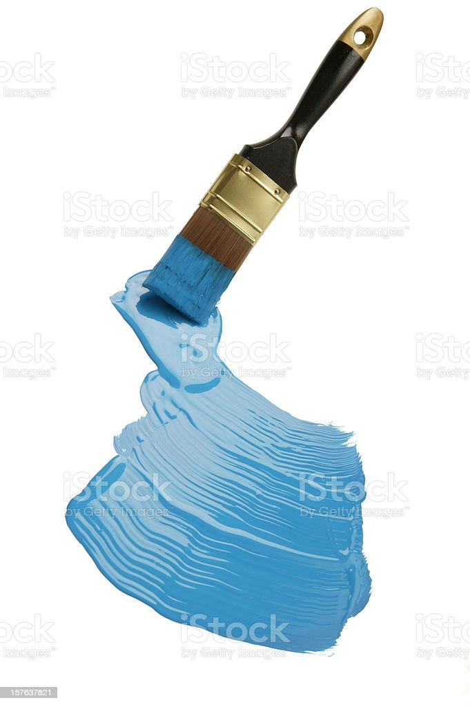 paintbrush and  blue paint blob(w/clipping path) royalty-free stock photo